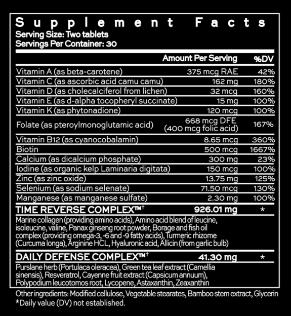 Hush & Hush Time Capsule Supplement Facts